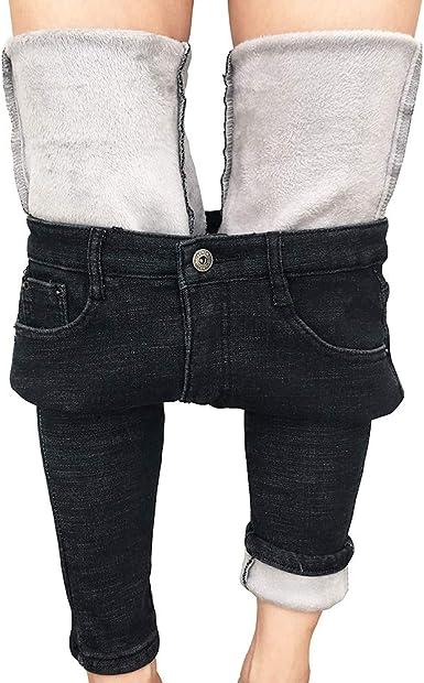 Womens Warm Fleece Lined Stretch Denim Jeggings Jeans Thermal slim Leggings AU