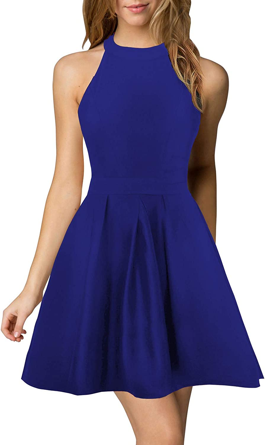 Berydress Womens Halter Neck Backless Flared A-Line Short Cocktail Party Dress