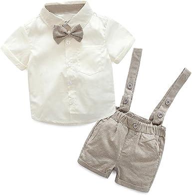 K-youth Conjuntos bebé Niño, Ropa Recién Nacidos Bebe Niño Camiseta Mangas Cortas Tops y Pantalones Cortos y Corbata de moño Verano Ropa Conjunto 0-3 Años: Amazon.es: Ropa y accesorios