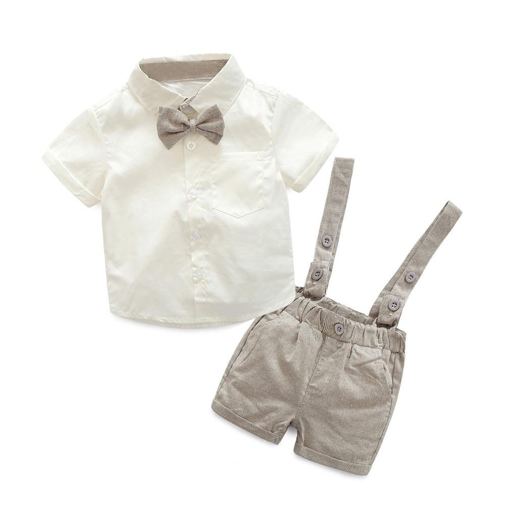 K-youth® Conjuntos Bebé Niño, Ropa Recién Nacidos Bebe Niño Camiseta Mangas Cortas Tops y Pantalones Cortos y Corbata de Moño Verano Ropa Conjunto 0-3 Años