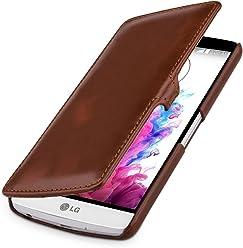 StilGut UltraSlim Case, custodia a libro con chiusura clip in vera pelle per LG G3 Stylus, cognac