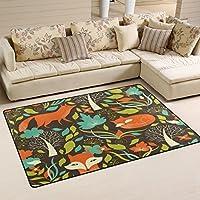 LORVIES Fox Patern Area Rug Carpet Non-Slip Floor Mat Doormats for Living Room Bedroom 60 x 39 inches