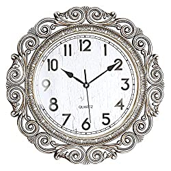 ufengke Vintage European Wall Clock Silver Silent Large Quartz Clocks with Fancy Frame for Living Room Bedrooms Lounge 18