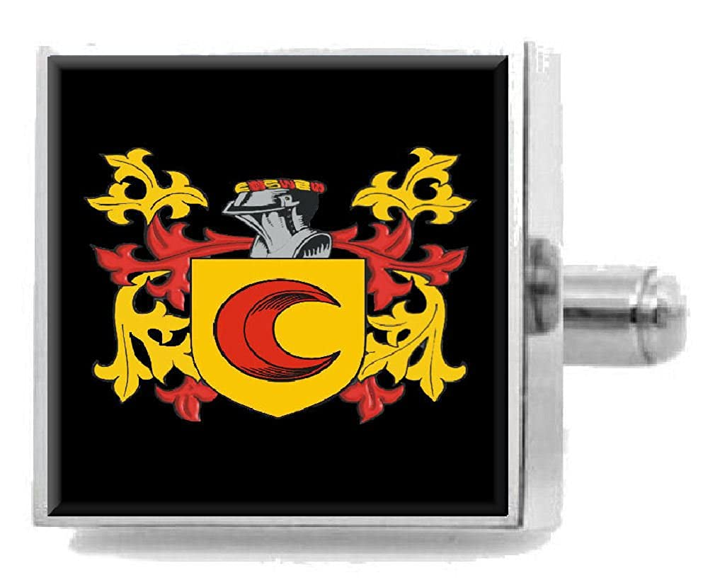 Select Gifts Pirie Scotland Heraldry Crest Sterling Silver Cufflinks Engraved Message Box