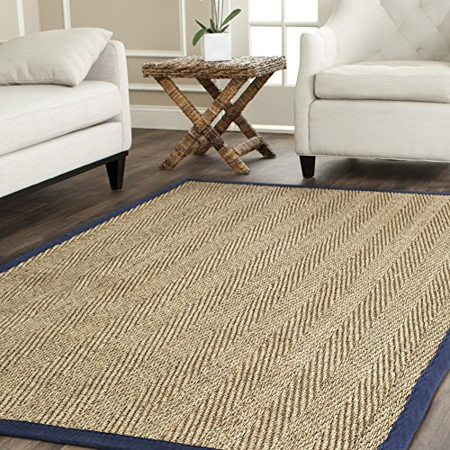 Pattern Woven Rug - Safavieh Natural Fiber Collection NF115E Herringbone Natural and Blue Seagrass Area Rug (3' x 5')