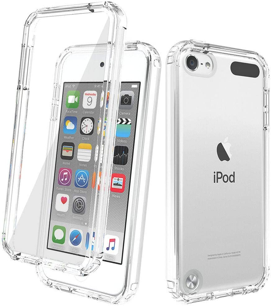 iPod Touch 7th Generation Case with Screen Protector, Transparent Full-Body Protection [Built-in Screen Protector] Shockproof Case for for Apple iPod Touch 5/6/7th Generation (Transparent)