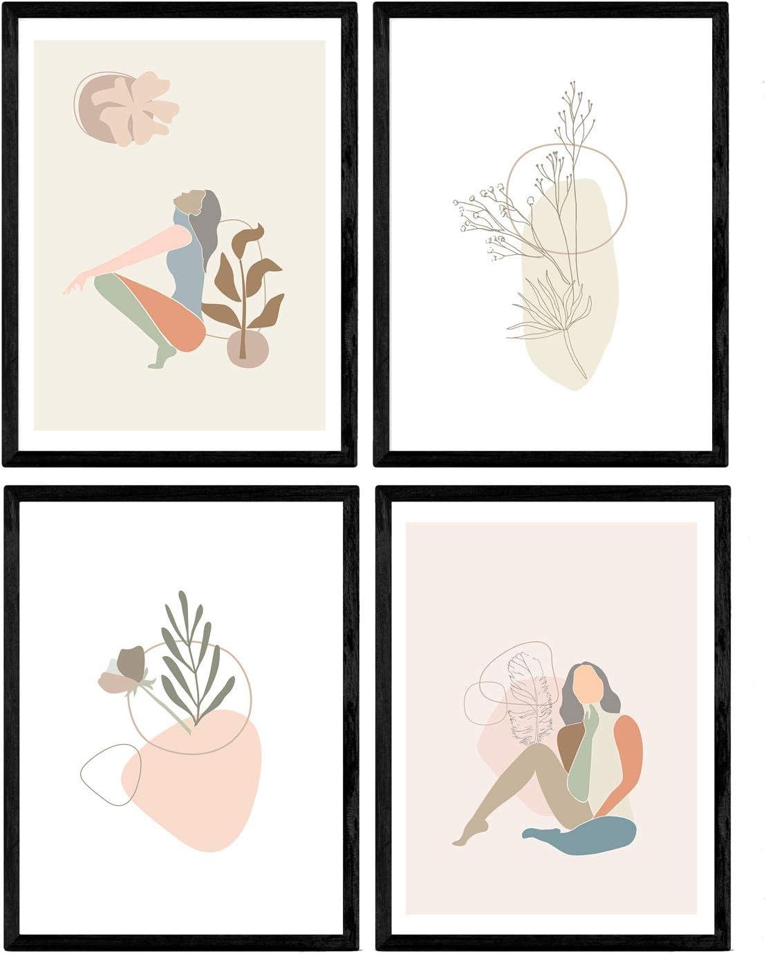 Nacnic Set of 1 - Unframed 8x11 inch Size - 250g Paper - Women Posing, Scandinvian Style, Free Spirited Pink, Blue, Green Orange Gray, Olive Branch, Flower