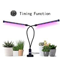 Grow Lights for Indoor Plants, CLTEC Timing Function Dual Head Grow lamp 36 LED 3 working modes 5 Dimmable Levels Full spectrum for Indoor Plants with 360 Degree Adjustable Plant light.Hydroponics Greenhouse Gardening [2018 Upgraded]