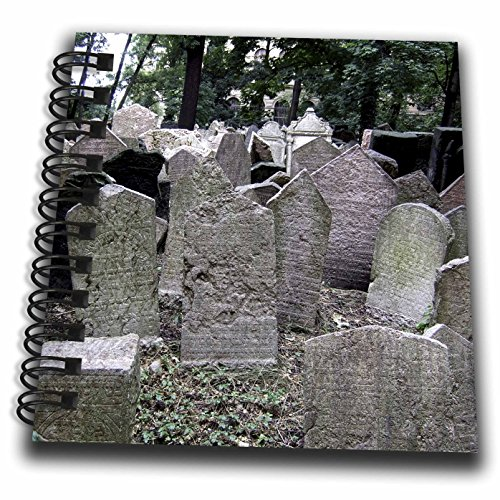 3dRose Gray Headstones In Cemetery In Prague - Grey Graveyard Grave Stones - Creepy Spooky Gothic Halloween - Mini Notepad, 4 by 4-Inch -