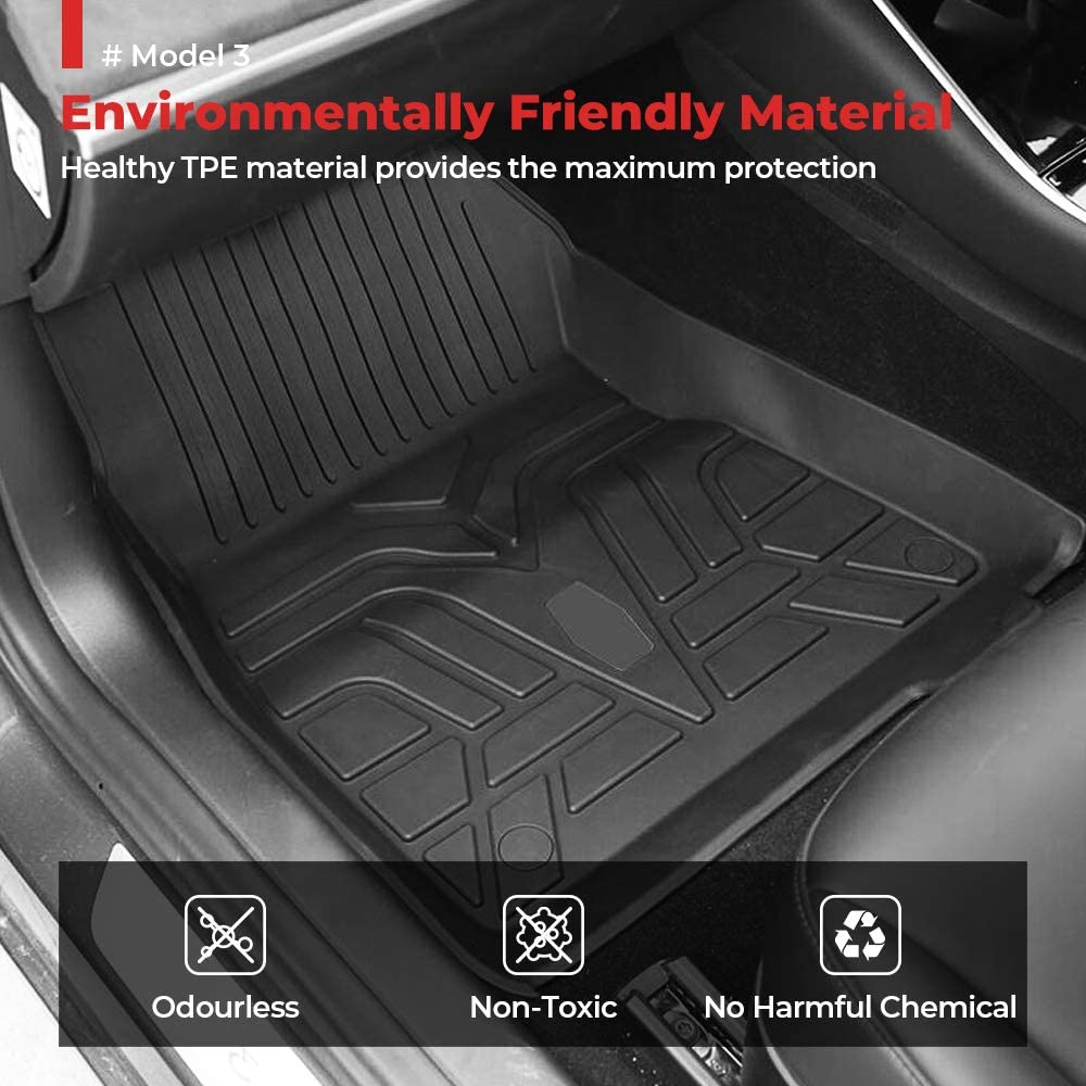 Waterproof Largest Coverage BougeRV for RHD Model 3 Car Floor Mats TPE Odourless Rubber for RHD Model 3 2017 2018 2019 2020 Heavy Duty All Weather Floor Liners 3D Full Cover Floor Mats Carpet