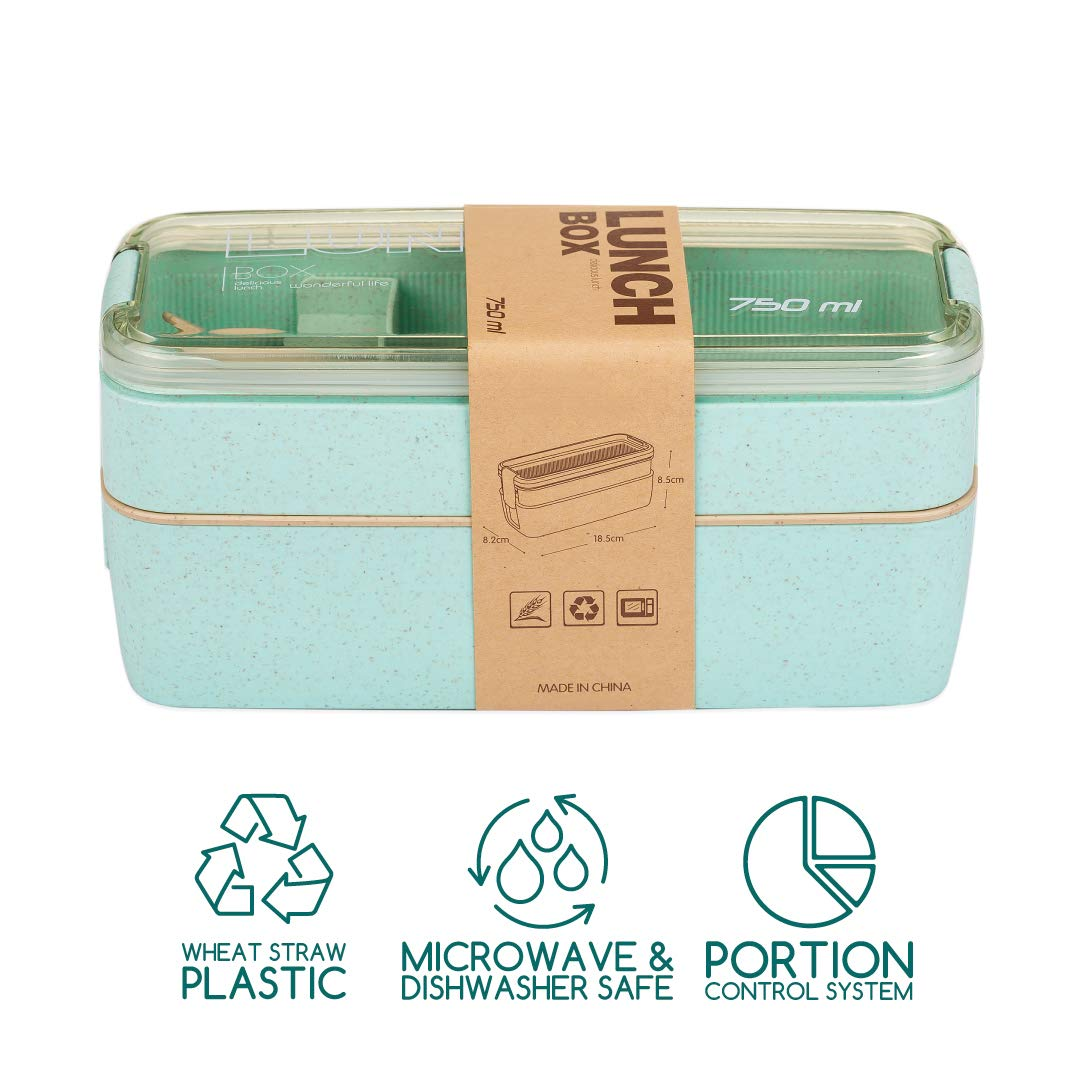 Dishwasher Safe,Utensils,Dividers-Food Storage Containers Two Stackable Meal Prep Kids Bento Box The All-in-one Lunch Bento Box