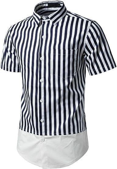 OVINEE Top Azul a Rayas de Moda para Hombre, Camisa, Blusa con Botones: Amazon.es: Ropa y accesorios