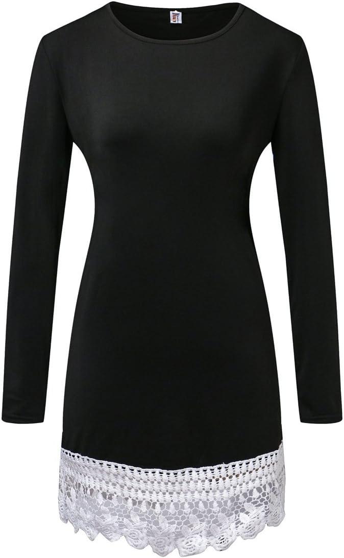 YALI Vestido De Encaje Cosido,Black,S