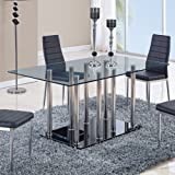 Cheap Global Furniture USA D368DT-Global Piece Dining Table Clear/Black