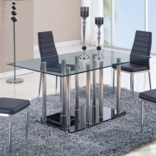 Global Furniture USA D368DT-Global Piece Dining Table Clear/Black