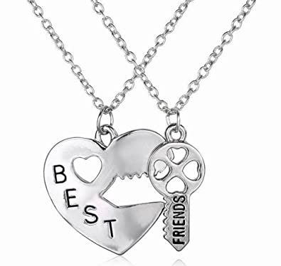 a38af7a1d0 Amazon.com: Two Piece Best Friends Forever BFF Silver Heart Key Pendant  Necklace Set Friendship Accessories: Jewelry
