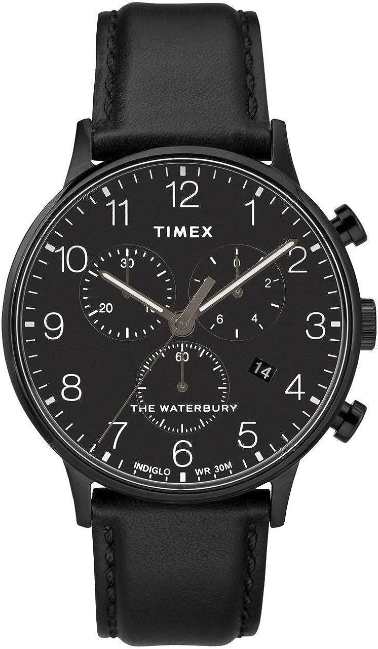 Timex Waterbury Classic Black Dial Leather Strap Men s Watch TW2R71800