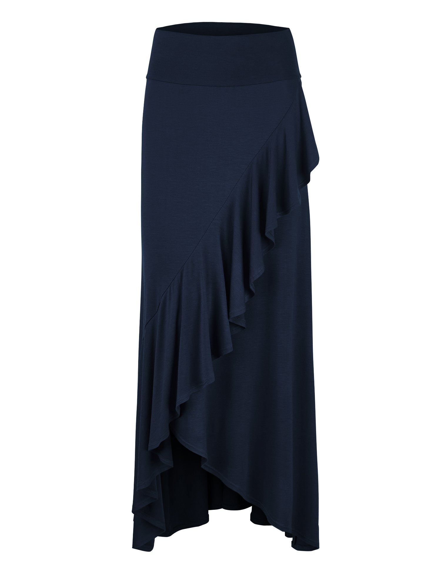 WB1356 Womens Wrapped High Low Ruffle Maxi Skirt XXXL NAVY