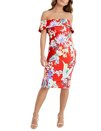 ed920cb268ada4 Lipsy Women Amy Print Bardot Bodycon Dress Orange US 14 (UK 18):  Amazon.co.uk: Clothing