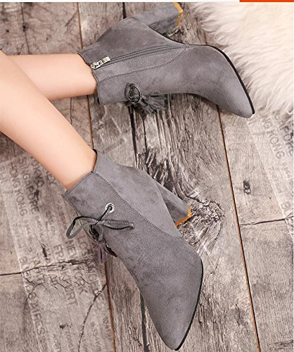 KHSKX-High-Heeled Shoes With Bold Tip Short Barrel Boots Gray Martin Boots Women England The Satin-Su Bare Boots 39 YSna30