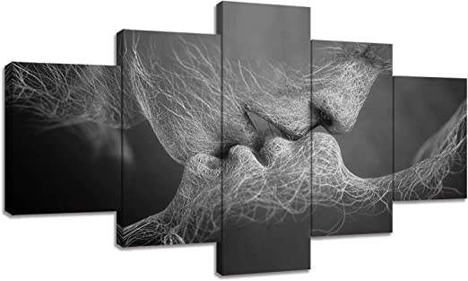 VIIVEI 4 Panel Create Idear Black /& White Love Kiss Abstract Art Canvas Painting Wall Art Picture Print Decoration for bedroom livingroom