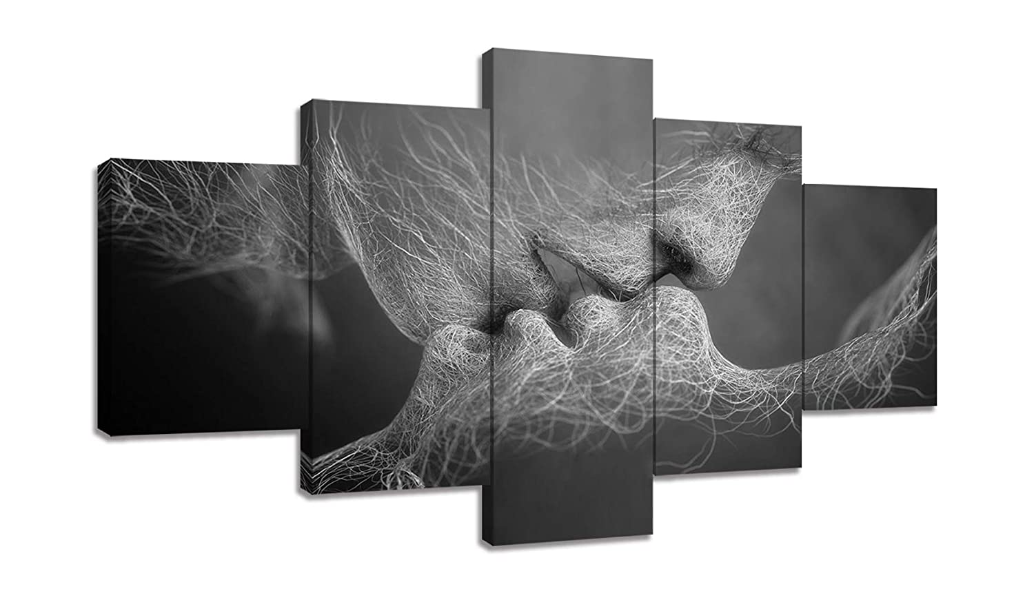 Urttiiyy 5 Panel Black and White Love Kissing Canvas Prints Wall Art Adam and Eve Home Decor Pictures for Living Room Poster Painting Framed Artwork Ready to Hang