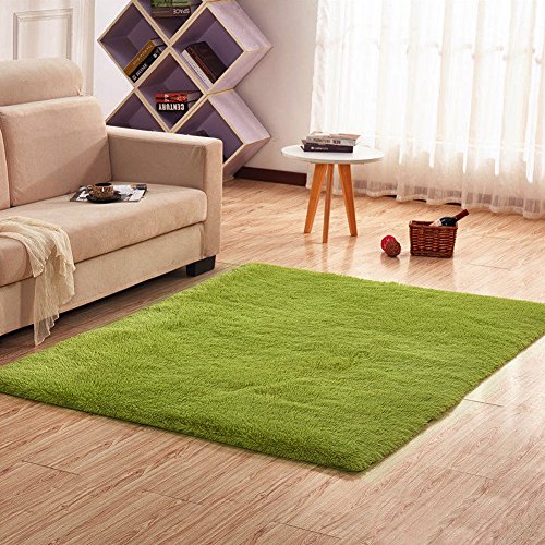 Noahas Super Soft Modern Shag Area Rugs Fluffy Living Room Carpet Comfy Bedroom Home Decorate Floor Kids Playing Mat 4 Feet by 5.3 Feet,Green