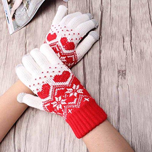 Pyrsun(TM) Women Winter Accessories Snow Flower Heart Pattern Gloves Wool Knitting Warm Full Fingers Glove Touch Screen Gloves by Pyrsun