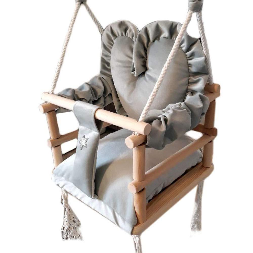 Grau Babyschaukel 3in1 Kinderschaukel H/ängesessel Aus Holz Baby Kleinkind Baby-Schaukel