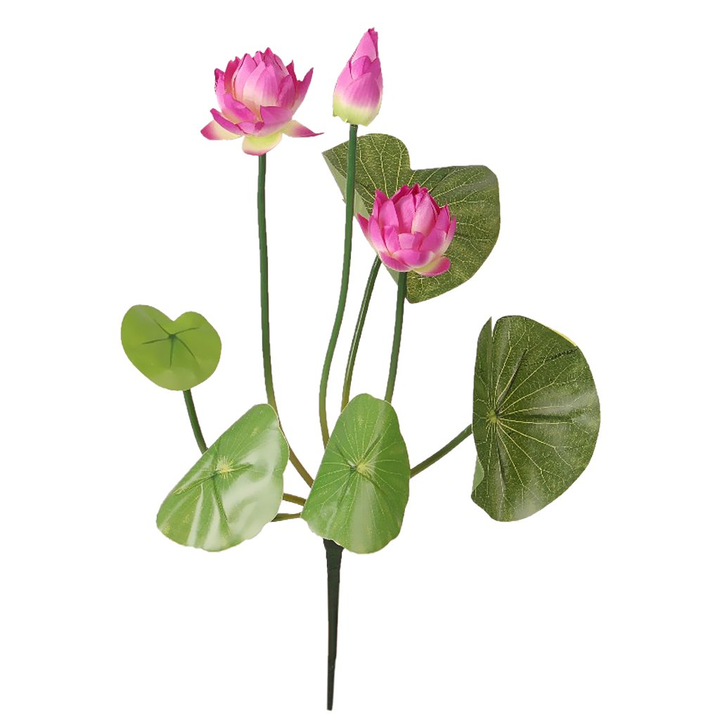 Amazon dovewill 2 piece faux flower waterlily artificial lotus amazon dovewill 2 piece faux flower waterlily artificial lotus green stem flower arrangement purple 46cm home kitchen izmirmasajfo
