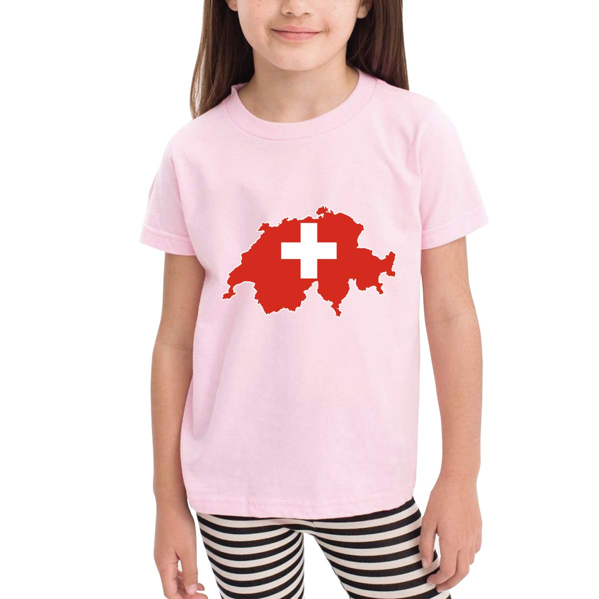 Switzerland Swiss Map Flag Novelty Cotton T Shirt Personality Black Tee for Toddler Kids Boys Girls