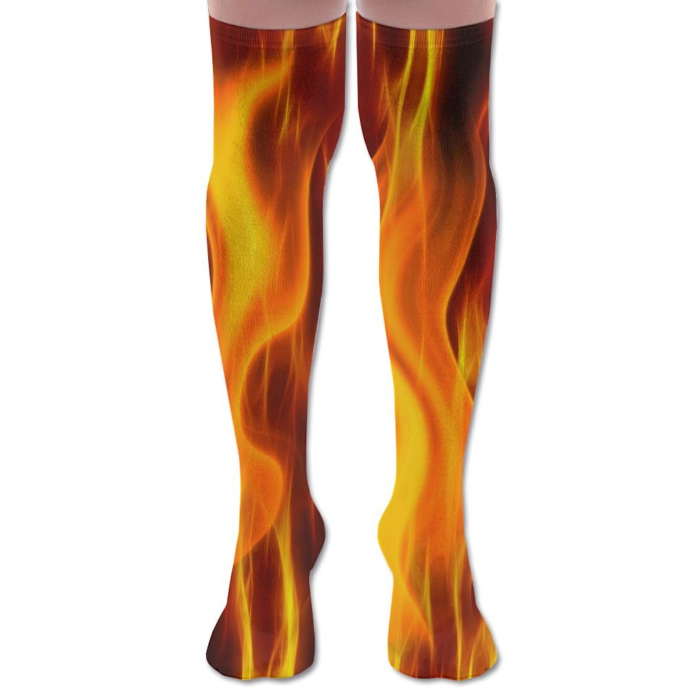 Men Women Burning Fire Flame Casual Novelty Knee High Athletic Sock Outdoor Gift Unisex