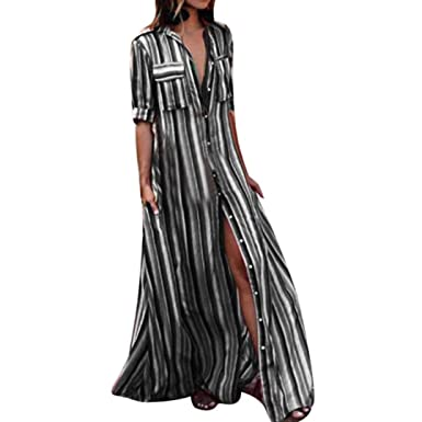 a399c76691 MALLOOM Womens Rainbow Button Down Roll up Sleeve Stripes Maxi Dress Pockets