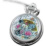 VIGOROSO Men's Quartz Colorful Peacock Flowers Enamel Ceramic Smooth Silver Pocket Watch in Gift Box