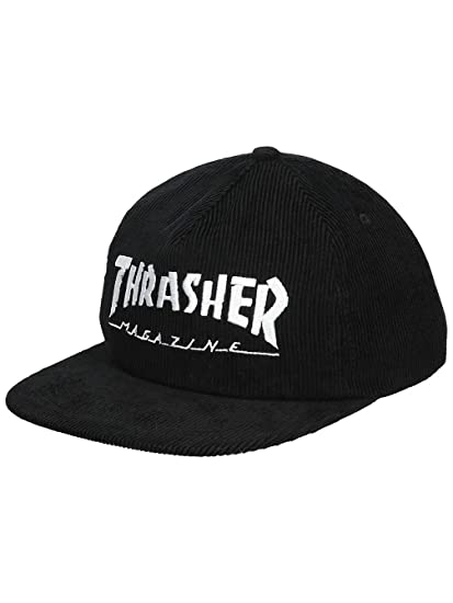 5252d6f3a34 Thrasher Magazine Logo Corduroy Snapback Hat Black  Amazon.co.uk ...