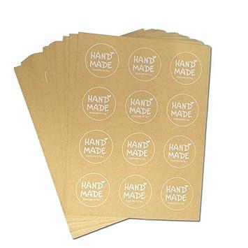 120 pcs redondo Kraft papel adhesivo etiquetas con hecho a mano impreso para boda