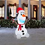 Gemmy Airblown Inflatable Olaf Wearing Santa Hat and Holding Candy Cane, Christmas Yard Decoration Props, 6-foot Tall