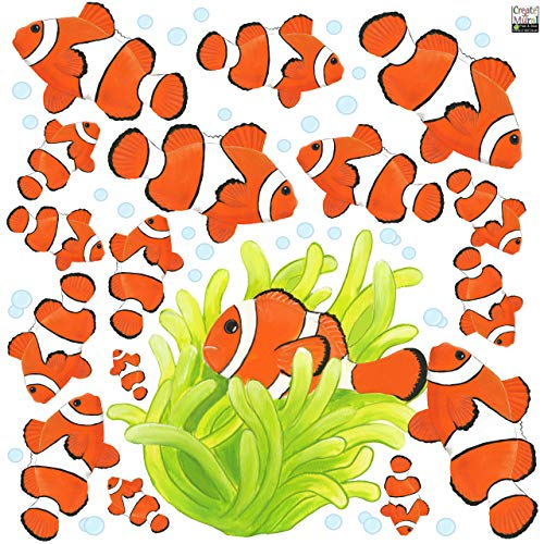 Create-A-Mural Clown Fish Wall Decals, Ocean Wall Stickers, Tropical Fish Room Decor, Under The Sea Peel n' Stick Kids Room Art