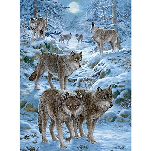 Bits and Pieces - 300 Large Piece Jigsaw Puzzle for Adults - Winter Wolf Pack - Wolf Puzzle - by Artist Liz Goodrick-Dillon - 300 pc Jigsaw
