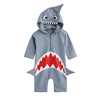 37b655ab94c49 Moomintroll Baby Boys Girls Shark Swim Rash Guard Swimsuit Costume Sun  Protection Swimwea (XS(