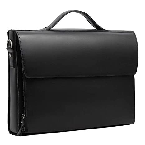69da0443d0 Leathario Leather Briefcase for Men Leather Laptop Bag Shoulder Messenger  Bag Business Work Office Bag Deluxe Black  Amazon.co.uk  Luggage