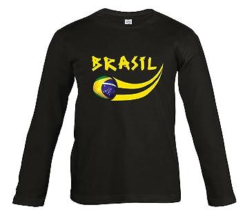 Supportershop Manga Larga Camiseta Niño Ls Brasil fútbol negro, T-shirt enfant noir manches