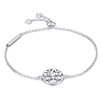 WISHMISS Damen Sterling Silber Armband Silber Baum des Lebens Armband  Stammbaum Anhänger Einstellbare Kette Armband Blau f855a66a2c
