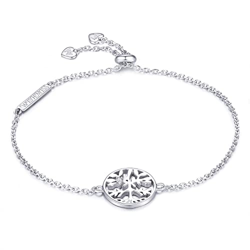 f9755b6179c4 WISHMISS 925 Sterling Silver Tree of Life Charm Bracelet for Girl (256 mm)