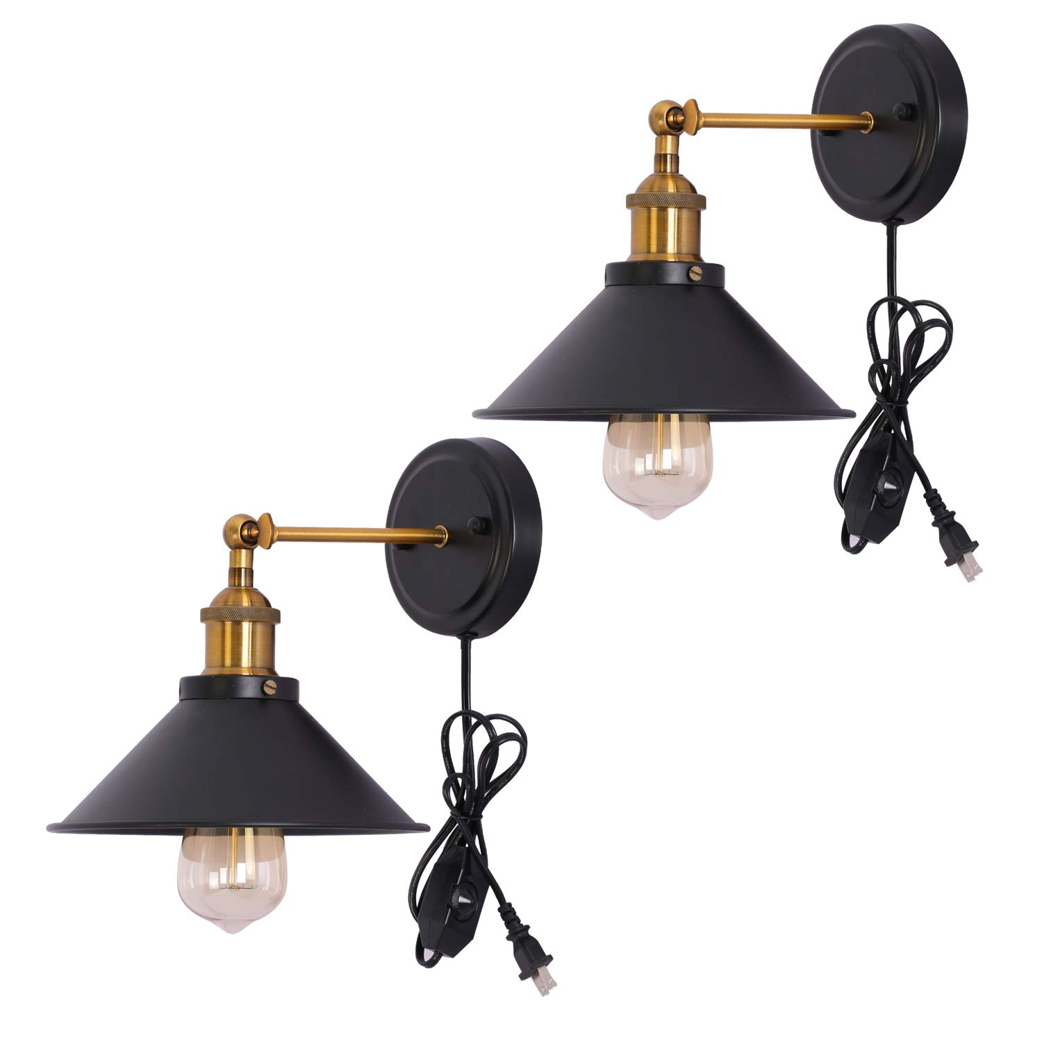Kingmi Dimmable Metal Wall Sconce 2-Pack UL Black Hardwire Industrial Vintage Wall Lamp Fixture Simplicity Arm Swing Wall Lights