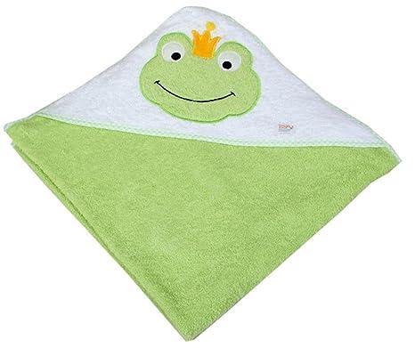 Zigozago - Toalla de baño con capucha para bebés Rana - Color: Verde
