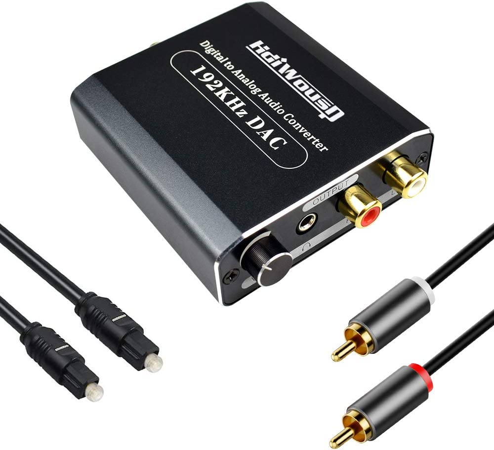 192KHz Digital to Analog Audio Converter with Volume Adjustment, Hdiwousp Optical to RCA Audio with Toslink Cable and RCA Cable for Home Theater Series Audio Devices, Aluminum