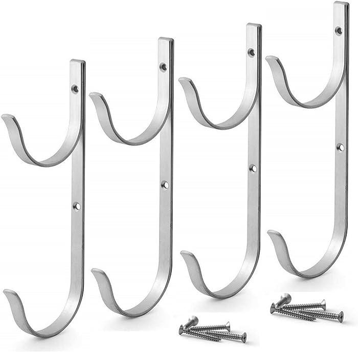 MENG ZHI AO 4 PCS Set Pool Pole Hangers Heavy Duty Aluminium Holder Hooks with Screws Perfect Hooks for Swimming Pool,Telescopic Poles,Skimmers,Nets Brushes,Vacuum Hose,Garden Equipment Etc (Silver)