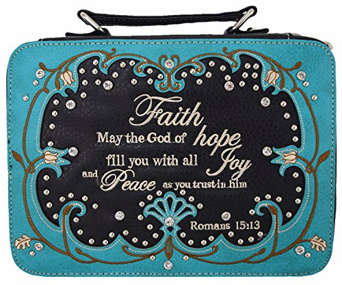 Western Style Embroidered Scripture Bible Verse Cover Books Case Cross Extra Strap Messenger Bag (turquoise)