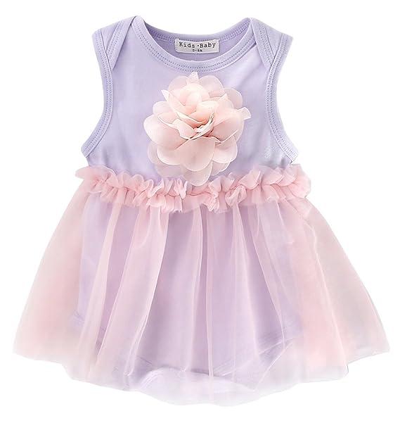 a6b4fb37e784 Happy Cherry Baby Girls Purple Pink Dress Tutu Sundress Tulle Orangic Skirt  S
